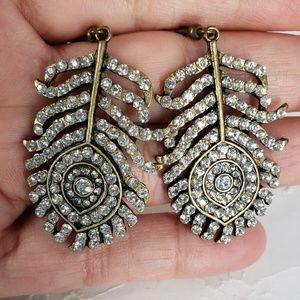 Rhinestone peacock feather earrings